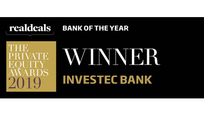 Bank of the Year winner, Real Deals Private Equity Awards 2019