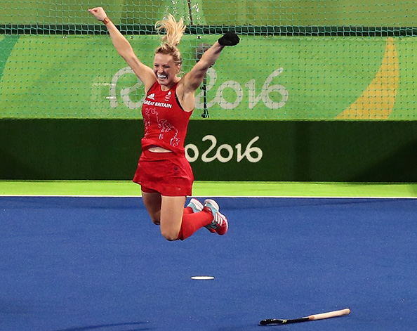 Hollie Pearne-Webb, shortly after scoring the winning goal at Rio 2016