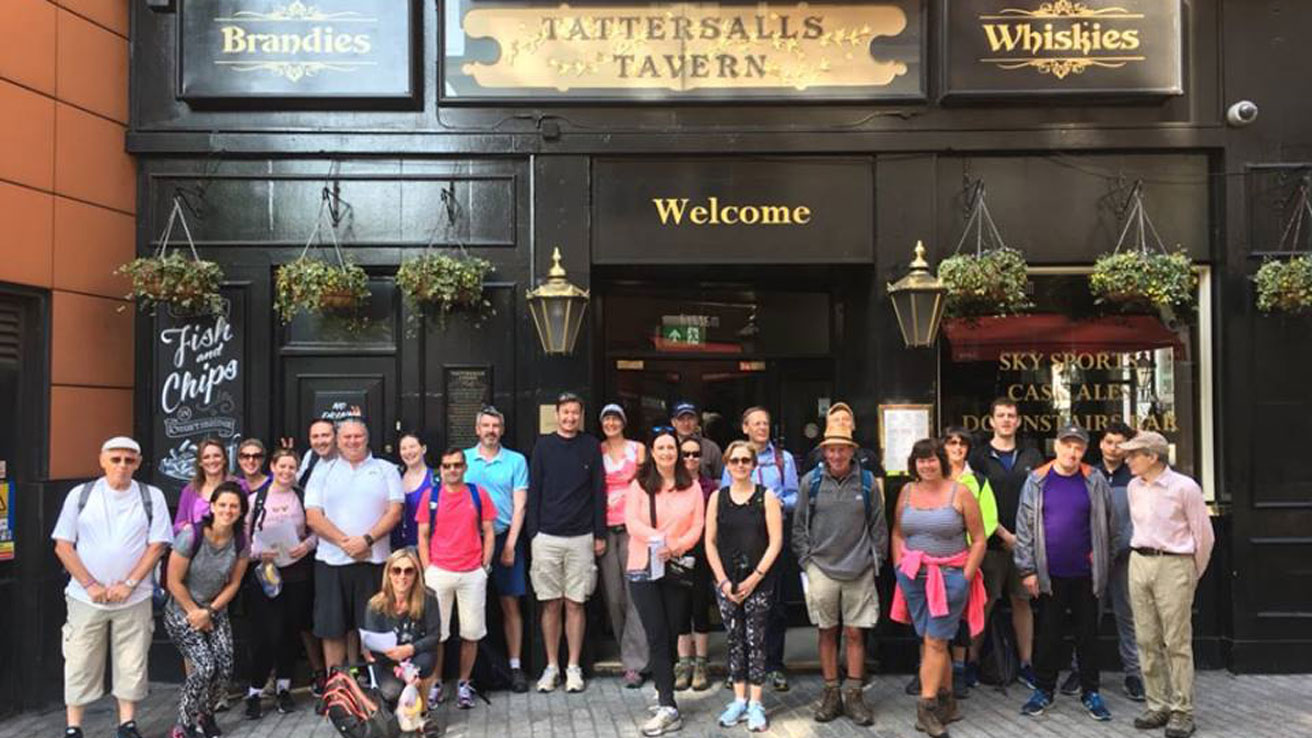Derby walkers set off in 2018 in front of Tatersall Tavern