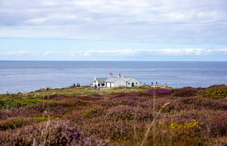 A white house sits atop a cliff, bordered by ocean and purple heather