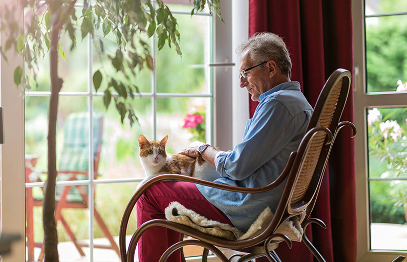 Middle-aged man sitting in a rocking chair at his window petting a cat