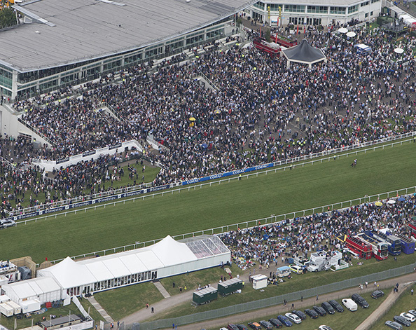 Investec Derby festival at Epsom Downs racecourse from the air